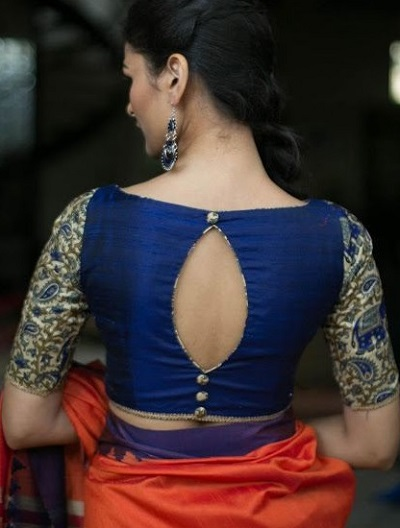 Blue Silk Blouse With A Boat Shape Cut At The Back