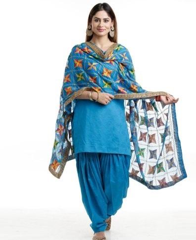 Blue cotton short suit with blue Phulkari style chiffon dupatta