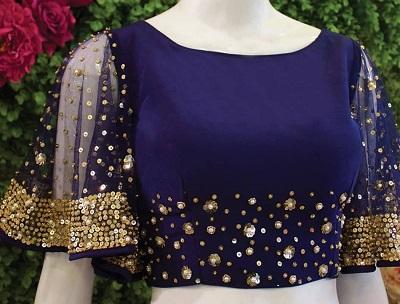 Blue velvet and net party wear blouse saree