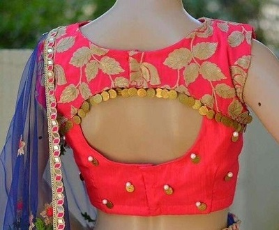Brocade pink and Silk blouse pattern