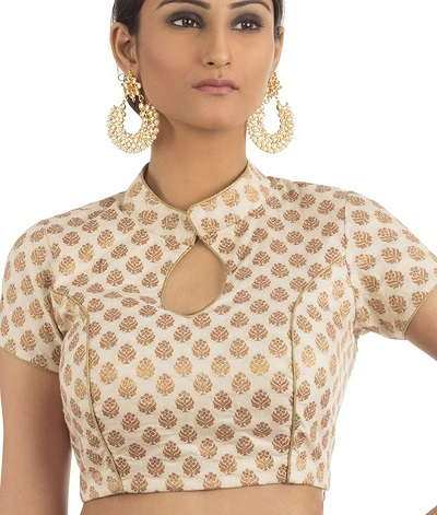 Chinese Collar And Keyhole Neckline Blouse Design