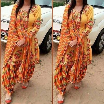 Cotton embroidered orange suit with orange Phulkari dupatta