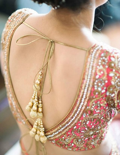 Deep V Neckline At The Back Bridal Blouse Design