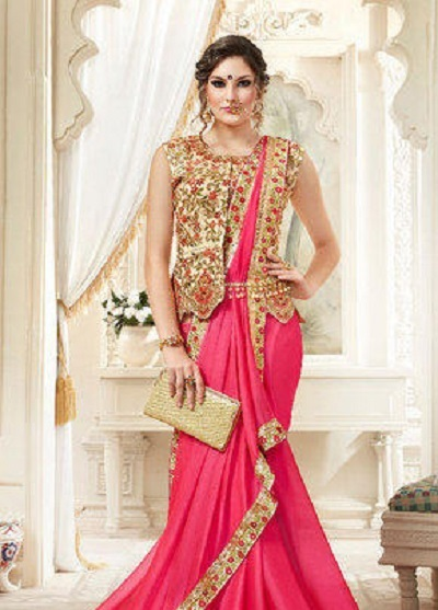Embroidered sleeveless long length blouse for bride