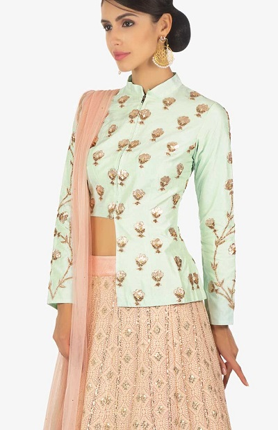 Front opening full sleeves long length blouse
