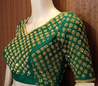 Green Sequin Studded Silk V Neckline Blouse Design