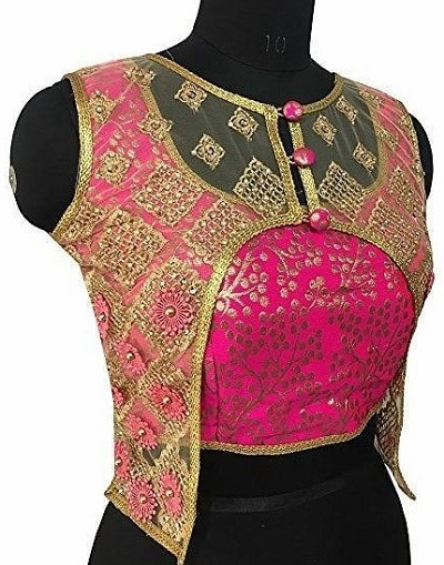Jacket style netted blouse design