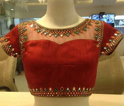 Net and red silk fabric blouse with mirror work