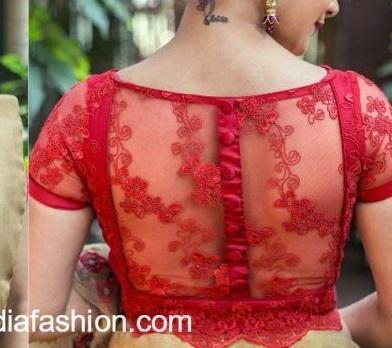 Net saree blouse design with stylish black neckline