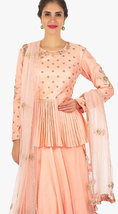 Peach silk fabric long blouse for parties