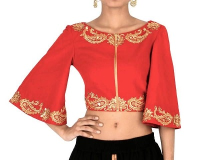 Red Silk Front Zipper Blouse With Bell Sleeves