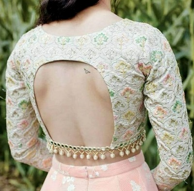 Semi Backless Blouse Back Pattern With Pearls