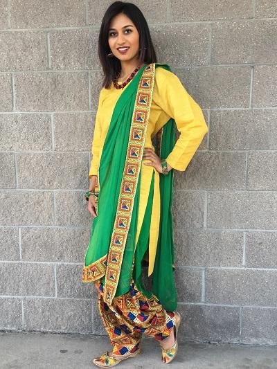 Simple cotton Phulkari salwar with yellow suit and green dupatta