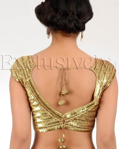 Stylish backless sequin studded blouse designStylish backless sequin studded blouse design