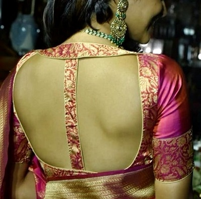 Stylish Necklace Blouse Design For Silk Sarees