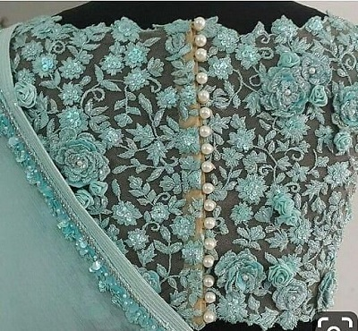 Thread and sequin work net fabric party wear blouse design