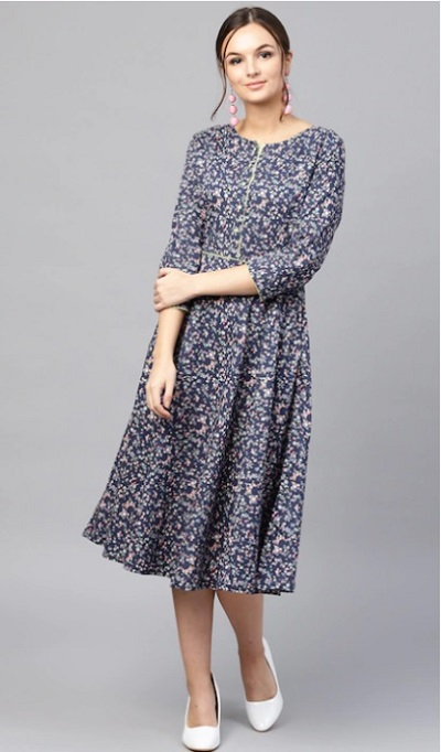 A Line Umbrella Printed Office Wear Dress For Women
