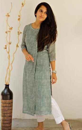 Angrakha Style formal kurta with white trousers
