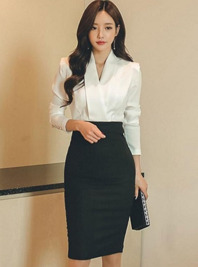 Black And White Shirt Style Dress For Women