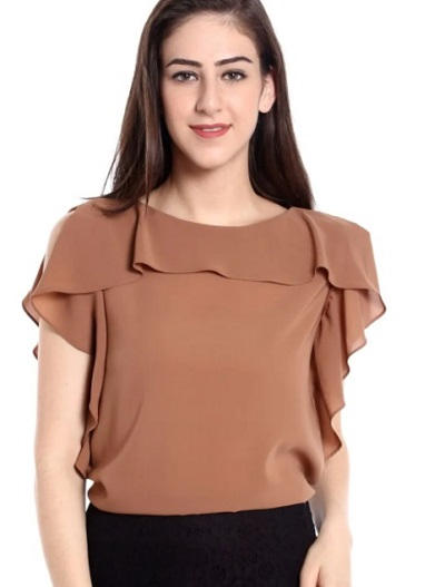 Brown chiffon ruffled office wear top for ladies