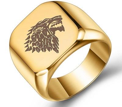 Carved Out Pattern Design For Men's Gold Ring