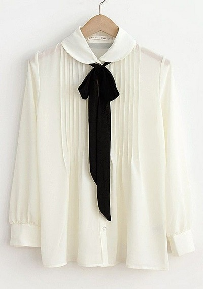 Chiffon formal full sleeves Shirt with Peter Pan collar and tie