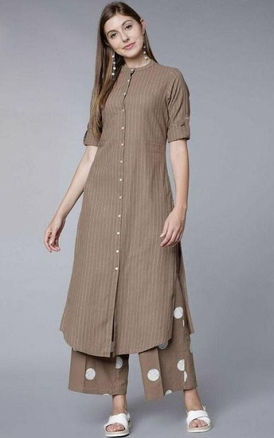 Designer Long Kurta With Printed Palazzo For Office