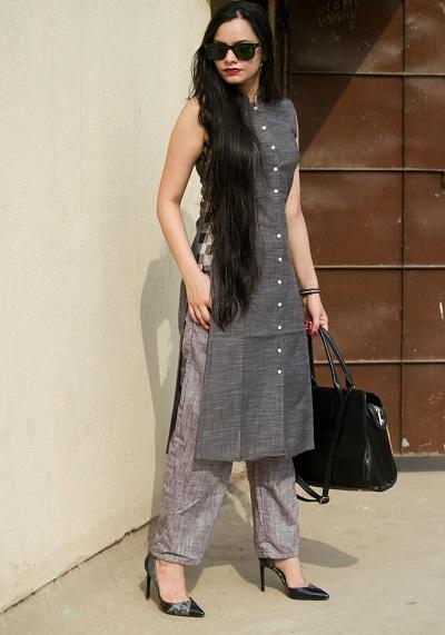 Elegant formal long kurta with straight pants