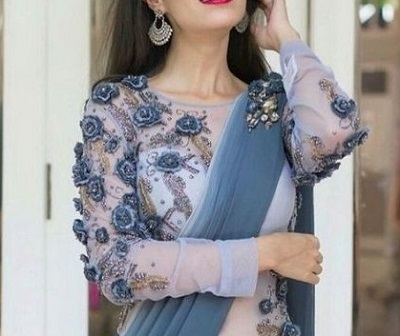 Floral grey and chiffon fancy blouse pattern