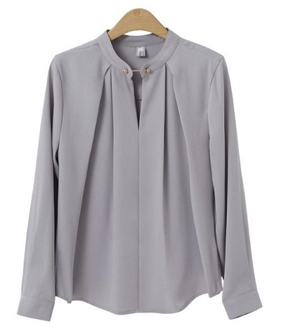 Full sleeves stand collar formal top