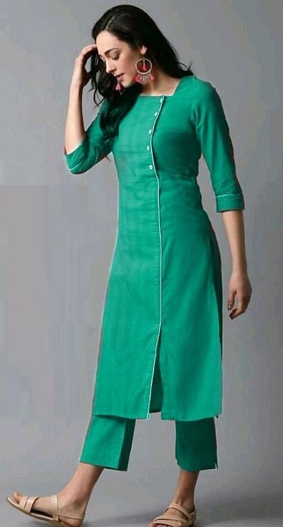 Long Fitted Side Panel Kurta With Trouser Pants For Office