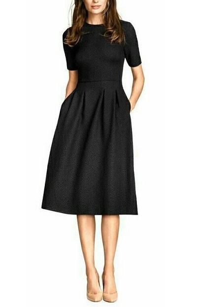 Medium sleeves pleated midi office wear dress
