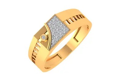 Men's Gold Ring with Diamond and Stone Work
