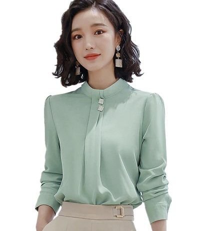 Mint green Office wear formal top with full sleeves