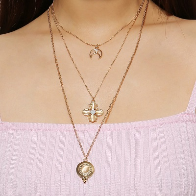Multi layered gold plated necklace for office wear