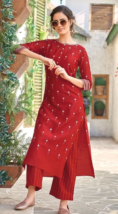 Office Wear Red Embroidered Kurta With Straight Palazzo Pants