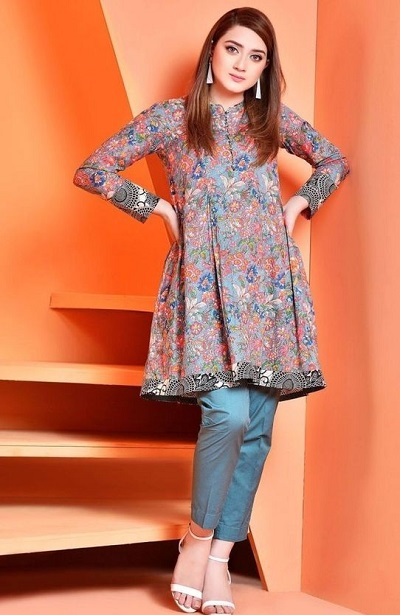 Office Wear Short Kurti With Straight Fit Trouser Pants
