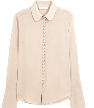Office-wear Collared full sleeves Georgette shirt for women