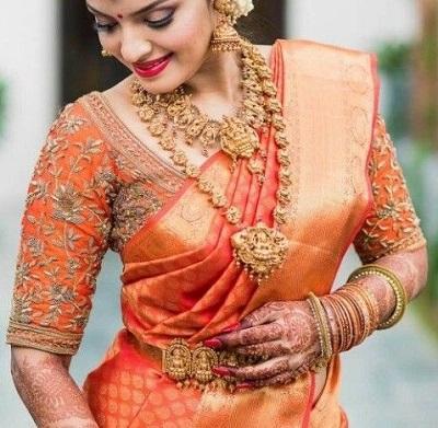 Orange silk saree wedding blouse pattern