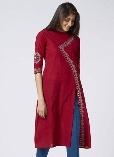 Red Kurta With Straight Fit Cigarette Pants For Office