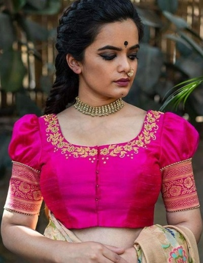 Silk saree blouse fancy pattern with puffed sleeves