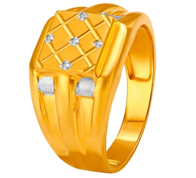 Simple Stone and Gold work Ring for Men