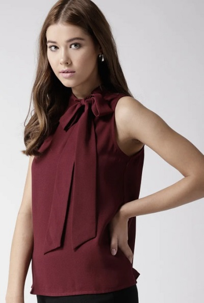Sleeveless Wine colored formal top with bow tie