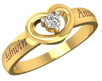 Stylish Couple Name Gold Ring Pattern For Men