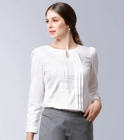 White pleated formal shirt for office