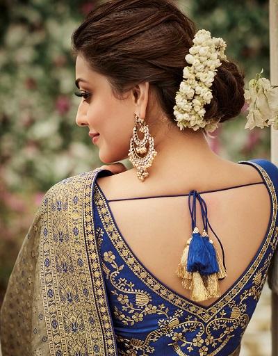 Blue Embroidered Back V Neckline Blouse Design