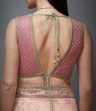 Deep V With Strings At The Back Blouse Design