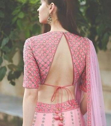 Embroidered Inverted V neckline back blouse design