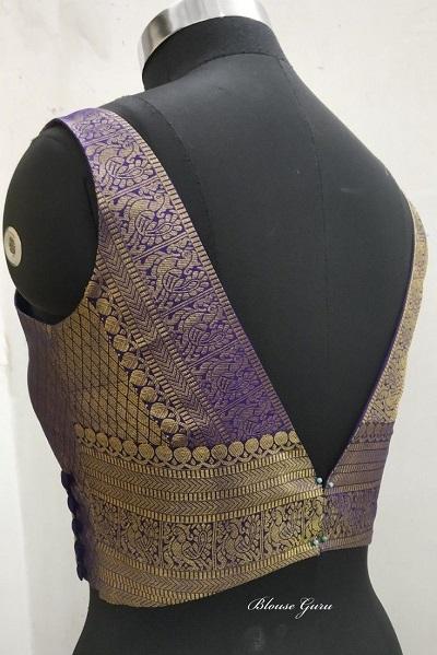 Stylish Silk Border Work V Neck Blouse Pattern