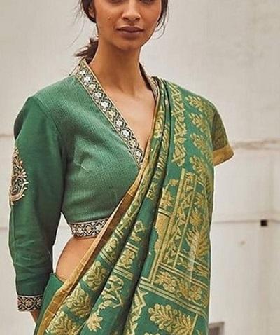 V-Neckline Silk Embroidered Blouse Design